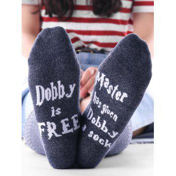 Pair of Letter Graphic Pattern Knitted Socks