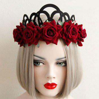 Gothic Elastic Crown Flower Hairband - RED RED