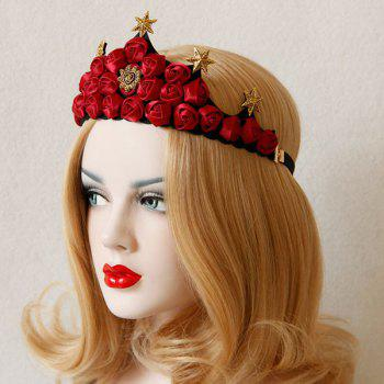 Hexagram Rose Flower Crown Elastic Hairband - RED