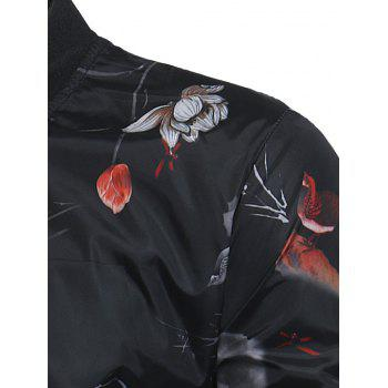 Lotus Flower Pattern Lightweight Bomber Jacket - BLACK M
