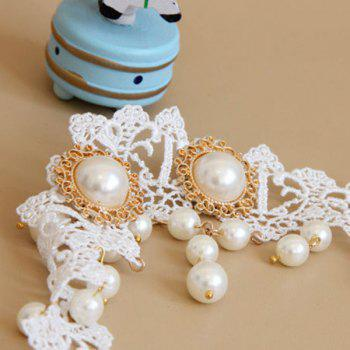 Artificial Pearl Lace Forehead Hairband - WHITE