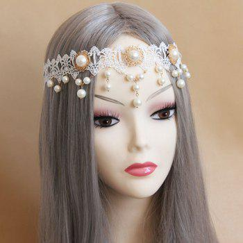 Artificial Pearl Lace Forehead Hairband - WHITE WHITE