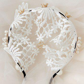 Faux Pearl Flower Lace Heart Love Hairband - WHITE