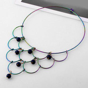 Alloy Layered Circle Beads Necklace - BLACK