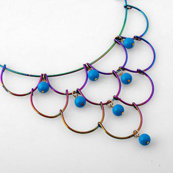 Alloy Layered Circle Beads Necklace - BLUE
