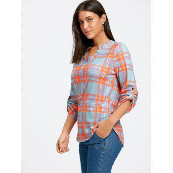 Plaid High Low V Neck Blouse - ORANGE XL