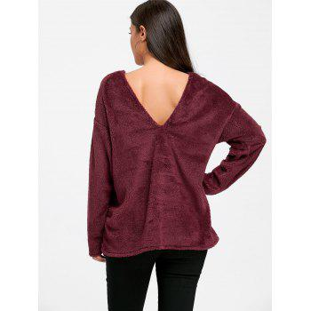V Neck Cut Out Fuzzy Sweater - WINE RED XL