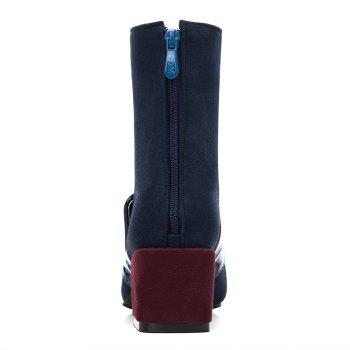 Buckle Strap Block Heel Boots - BLUE 37