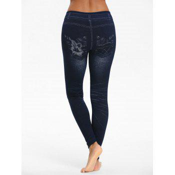Floral Printed Heart See Through Cutout Jeggings - BLACK ONE SIZE