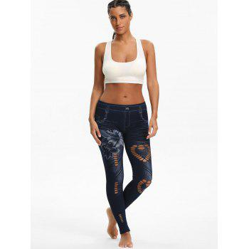 Floral Printed Heart See Through Cutout Jeggings - BLACK BLACK