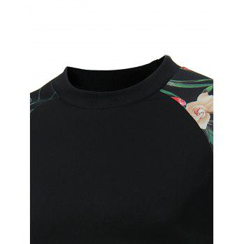 Raglan Sleeve Kangaroo Pocket Floral Print Sweatshirt - BLACK XL