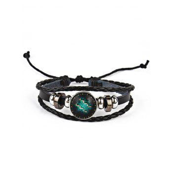 Vintage Twelve Constellations Bolo Braid Rope Bracelet - AQUARIUS AQUARIUS