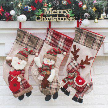 3Pcs Hanging Decorations Candy Gift Bags Christmas Socks - COLORFUL