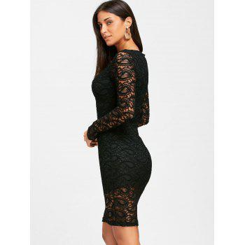Long Sleeve Lace Formal Knee Length Dress - BLACK BLACK