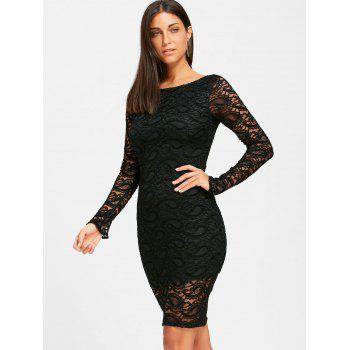 Long Sleeve Lace Formal Knee Length Dress - BLACK M