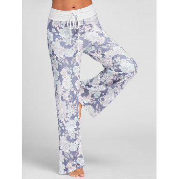 Floral Drawstring Wide Leg Pants - GRAY GRAY