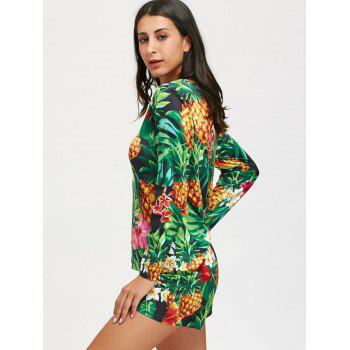 Tropical Pineaaple Printed Long Sleeve Pajama Set - COLORMIX COLORMIX