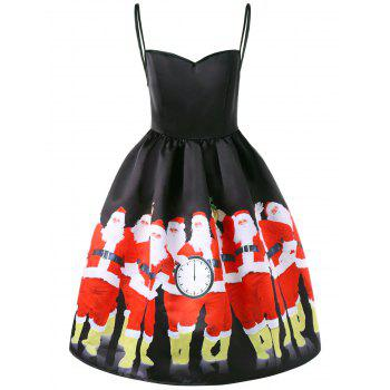 Christmas Santa Print Spaghetti Strap Dress