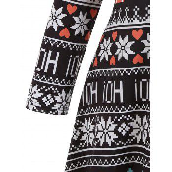 Plus Size Long Sleeve Christmas Printed Dress - BLACK 3XL
