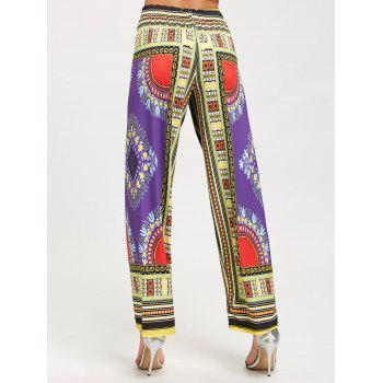African Printed High Waist Wide Leg Pants - PURPLE XL