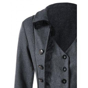 Lace Panel Button Up Tailcoat - GRAY L