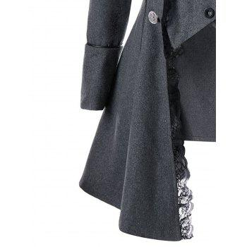 Lace Panel Button Up Tailcoat - GRAY 2XL