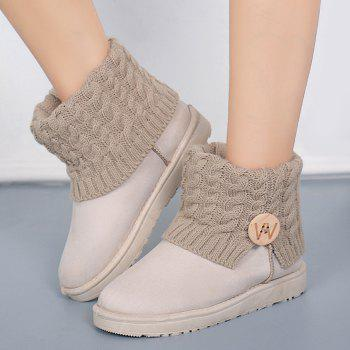 Button Letter Snow Boots - OFF WHITE 40