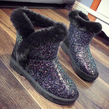 Low Heel Sequined Snow Boots - BLACK 36