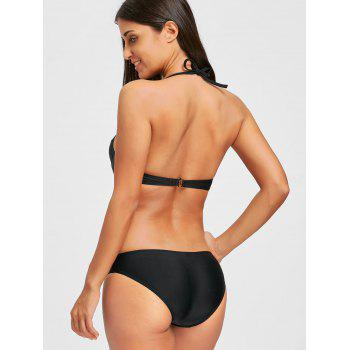 One Piece Backless Push Up Swimsuit - BLACK BLACK