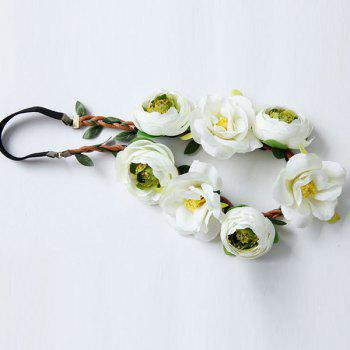 Flower Wreath Elastic Hairband - WHITE