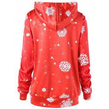 Christmas Plus Size Sled Print Tunic Hoodie - RED XL