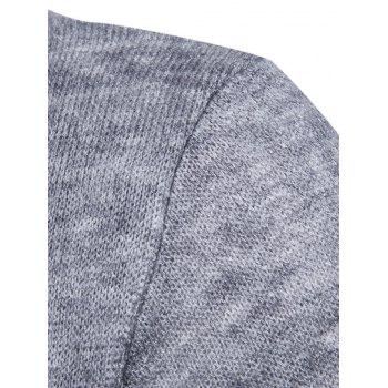 Faux Twinset Panel Knitted Asymmetric Cardigan - LIGHT GRAY L