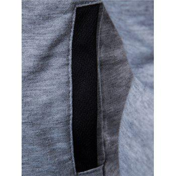 Color Block PU Leather Panel Zip Up Hoodie - LIGHT GRAY 3XL