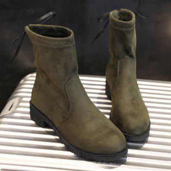 Tie Back Ankle Boots - ARMY GREEN 38