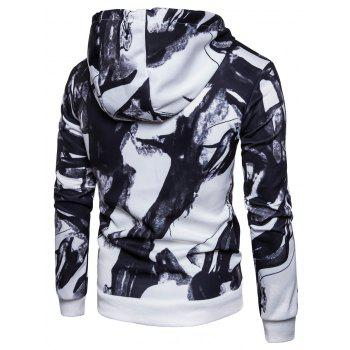 3D Ink Wash Painting Print Pullover Hoodie - WHITE M