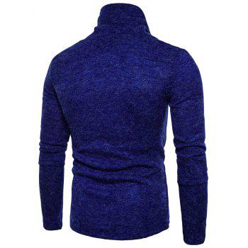 Piles Collar Asymmetric Long Sleeve Sweater - ROYAL M
