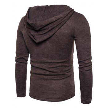 Hooded Lace Up Knitted Pullover Sweater - COFFEE M