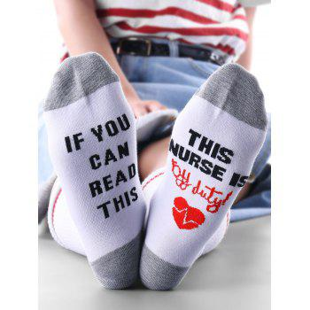 Funny Letter and Heart Pattern Kintting Ankle Socks - WHITE + GREY WHITE / GREY