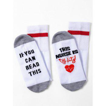 Funny Letter and Heart Pattern Kintting Ankle Socks - WHITE / GREY