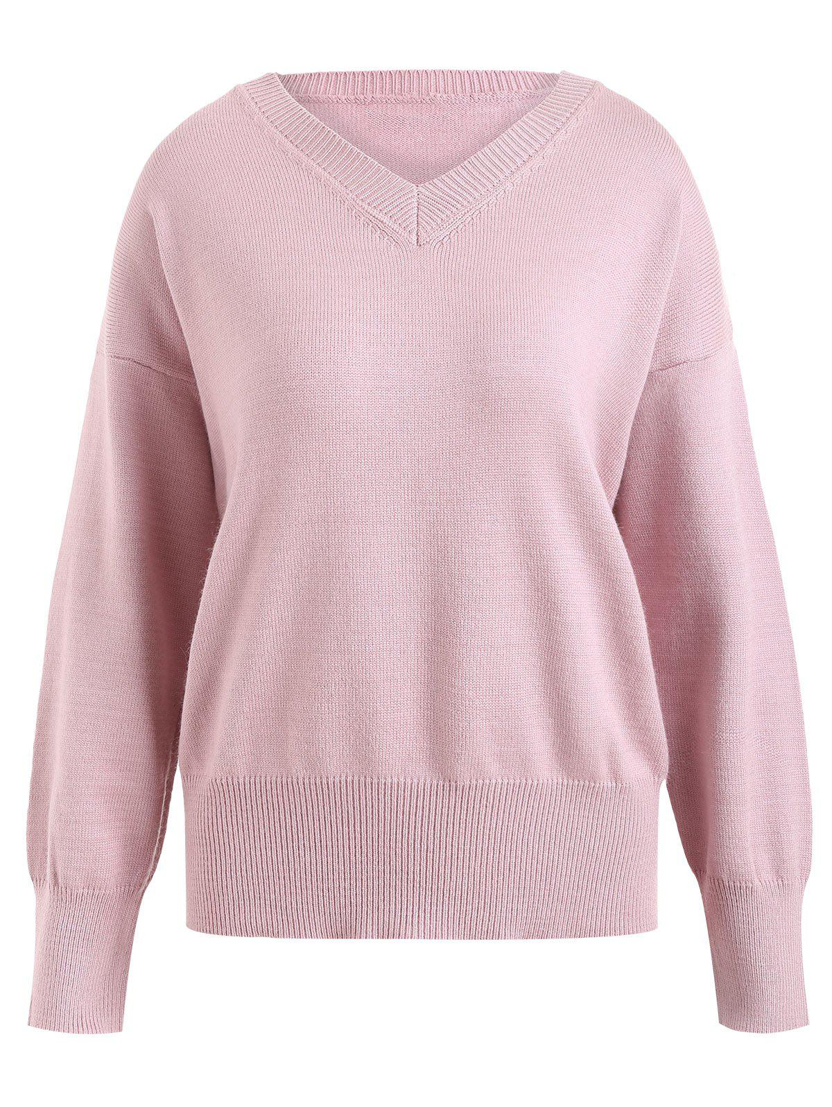 2018 Plus Size V Neck Soft Knit Sweater PINK XL In Plus Size ...