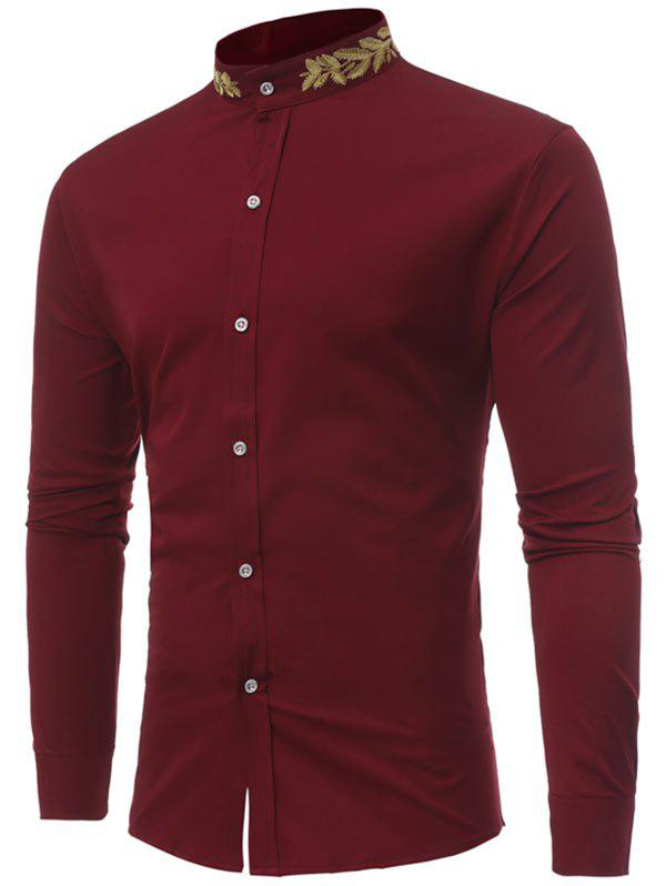 2018 mandarin collar plant embroidery shirt wine red m in for Chinese collar shirts for men