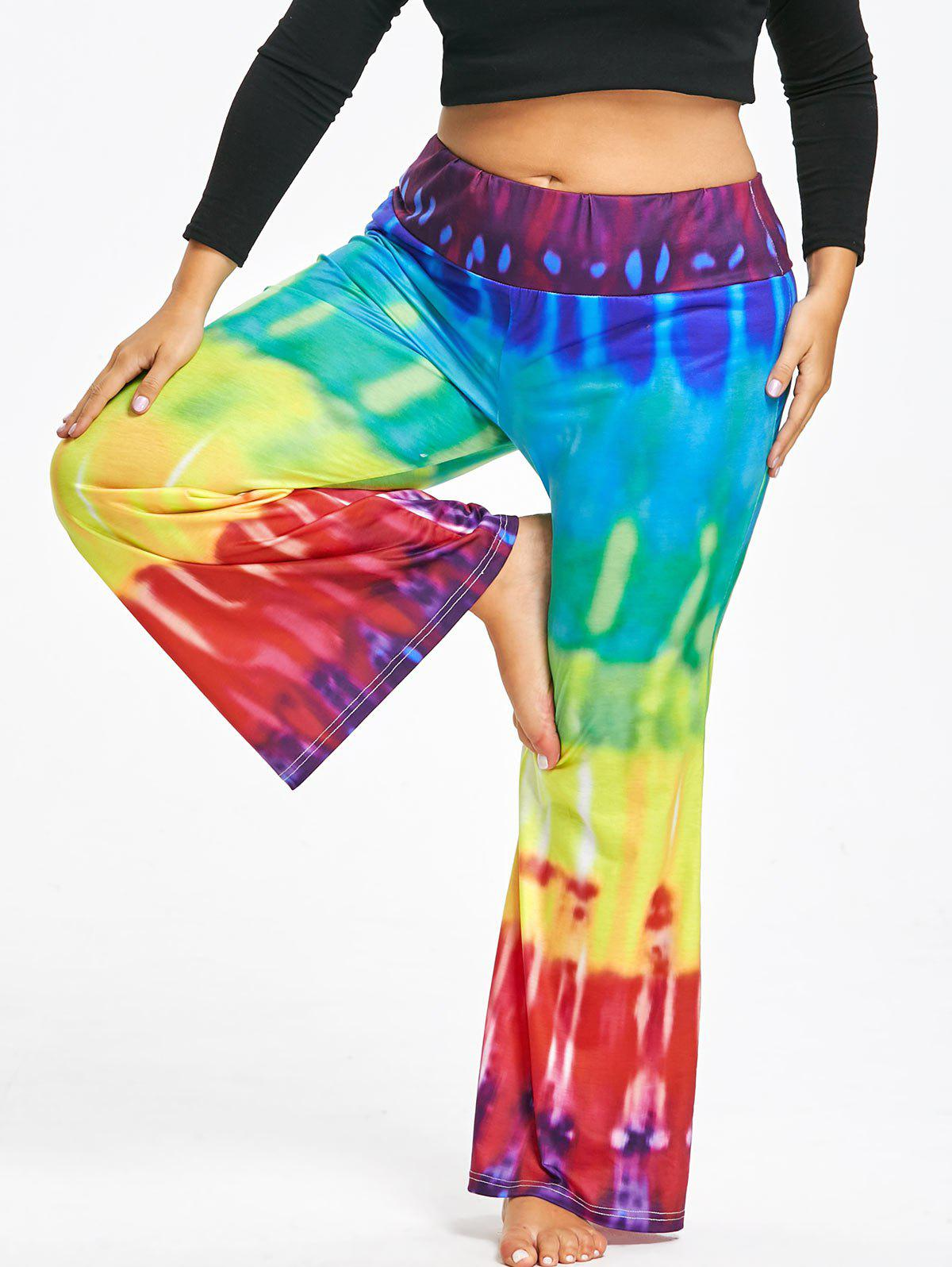Plus Size High Waist Tie Dye Bootcut Palazzo Pants inc international concepts plus size bootcut pull on ponte knit pants