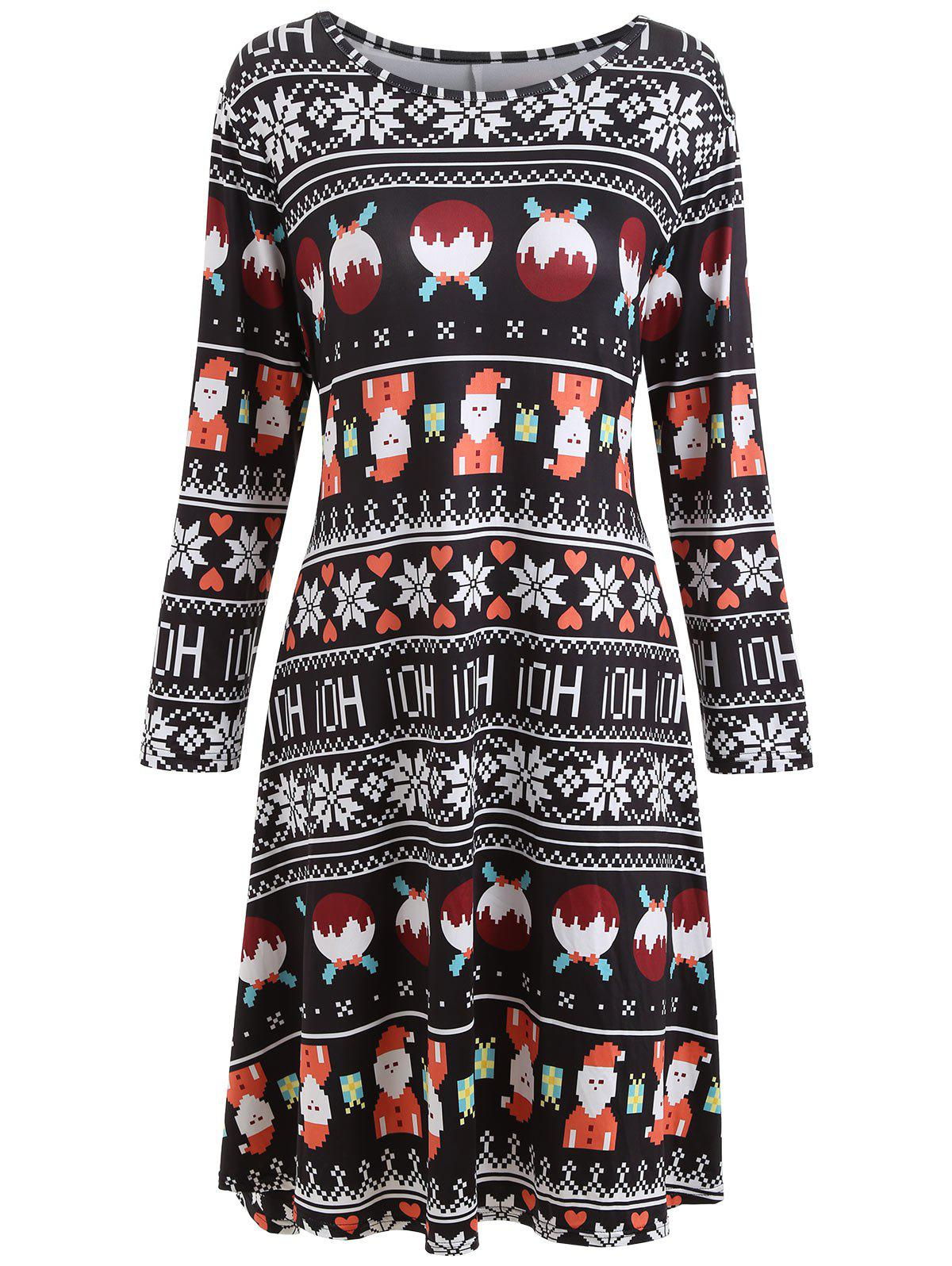 Plus Size Long Sleeve Christmas Printed Dress - BLACK 4XL