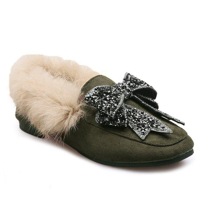 Rhinestone Bow Accent Faux Fur Suede Slip On Shoes rhinestone suede slip on flat shoes