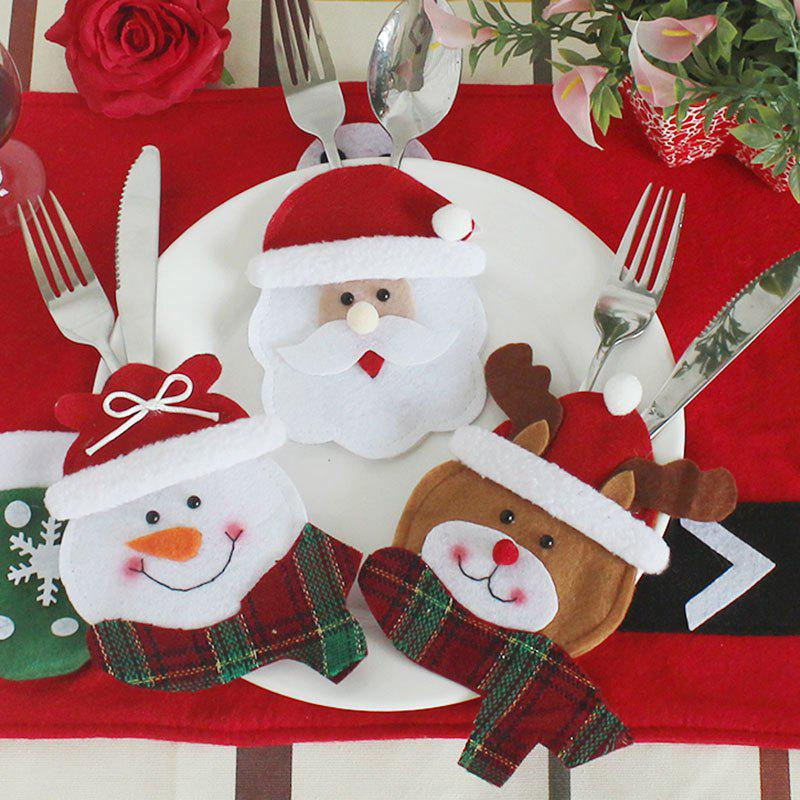 Christmas Party Decoration 3Pcs Knives And Forks Bags - COLORFUL