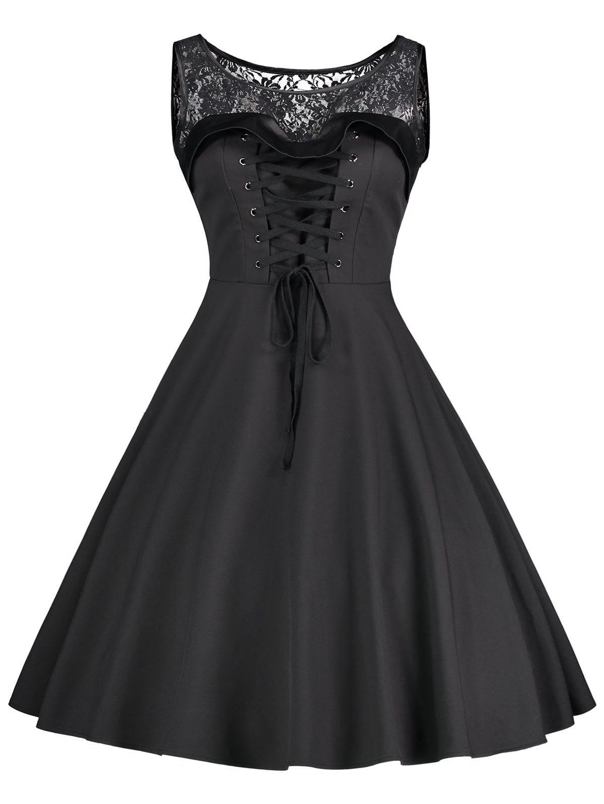 Lace Up Sleeveless Fit and Flare Dress - BLACK M