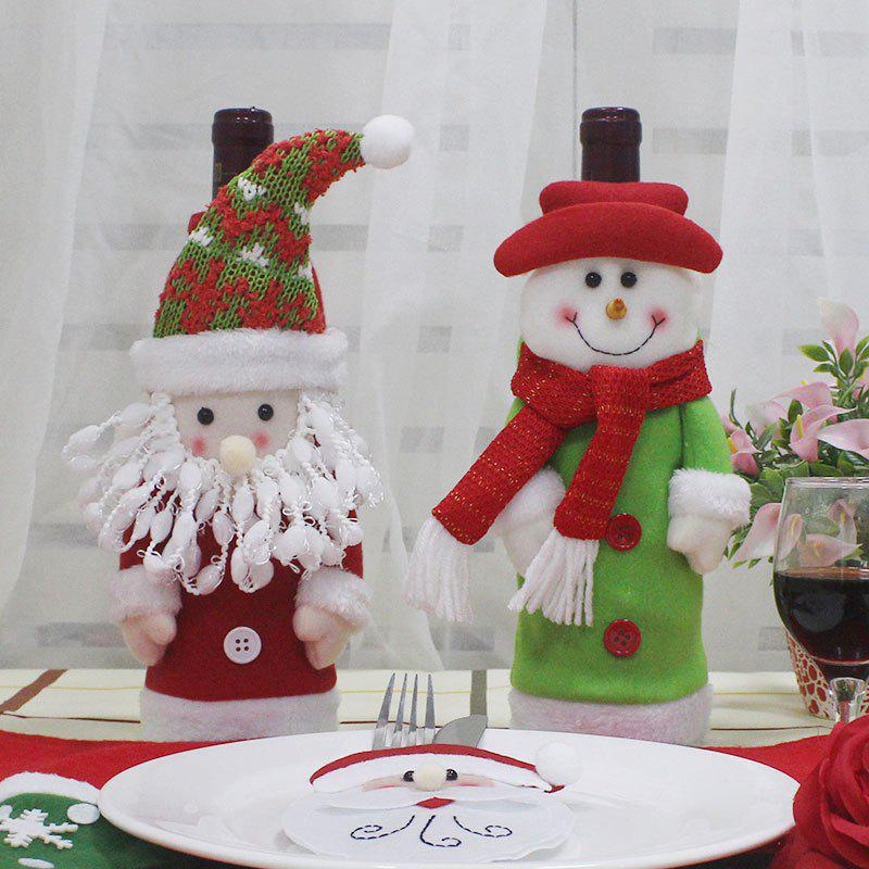 Creative 2Pcs Santa Claus and Snowman Shape Winebottle Covers - COLORFUL