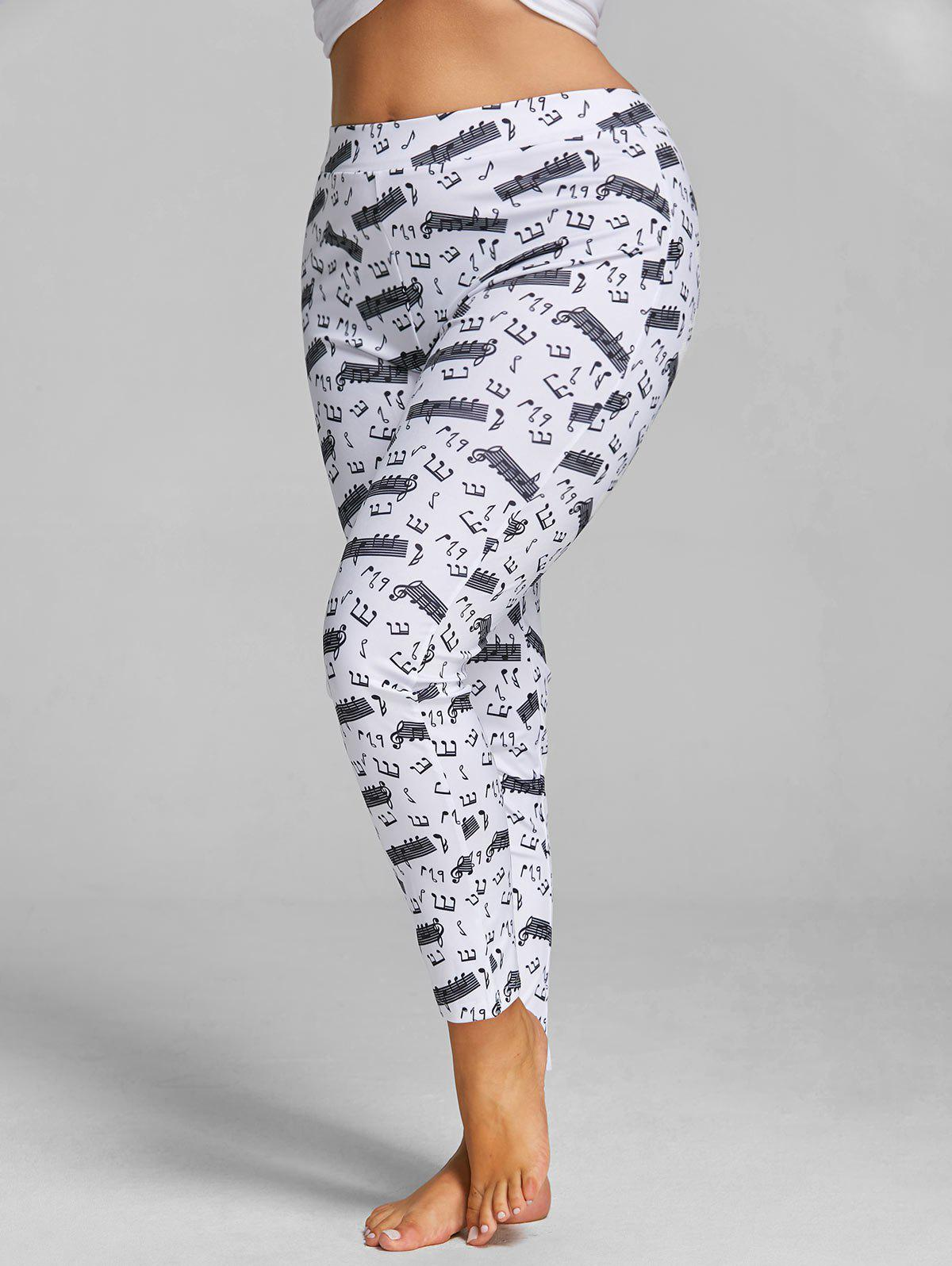 Plus Size Music Notes Printed Fitted Leggings plus size drop shoulder music notes sweatshirt