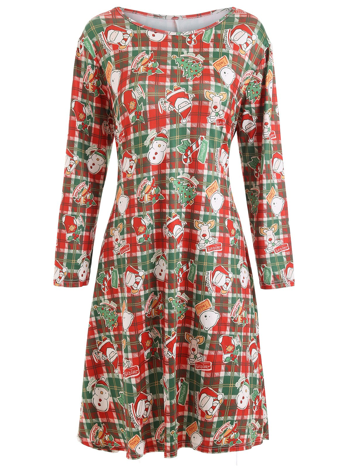 Plus Size Plaid Christmas Printed Dress with Sleeves plus size christmas candy printed dress