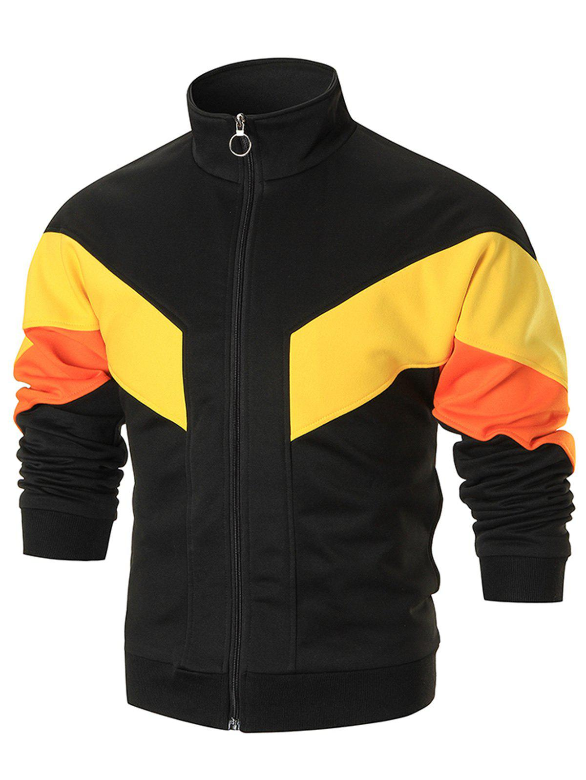 Stand Collar Color Block Track Jacket - BLACK 3XL